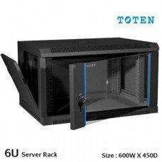 TOTEN 6U Wall Mount Server Cabinet (Glass Door)