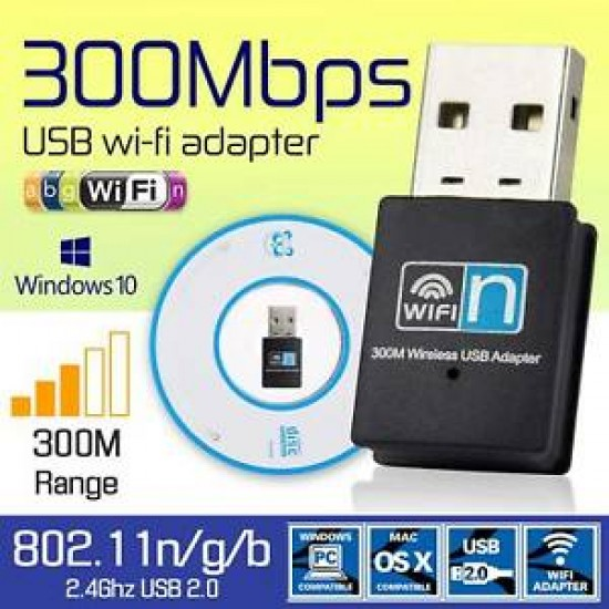 Wifi USB Adapter 300 mbps Non Antena