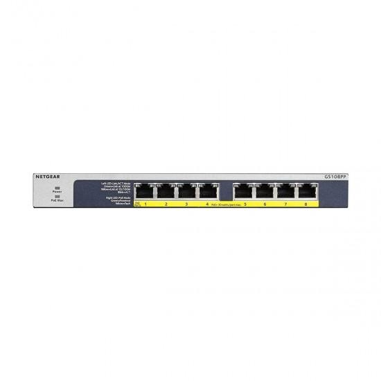 Netgear GS108PP 8 Port ProSafe Gigabit PoE Unmanaged Desktop Switch